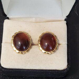 Vintage Gold Tone Oval Plastic Stud Earrings Dress